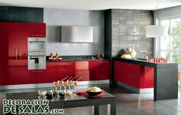 Un toque rojo para tu cocina for Modelos de muebles de cocina modernos