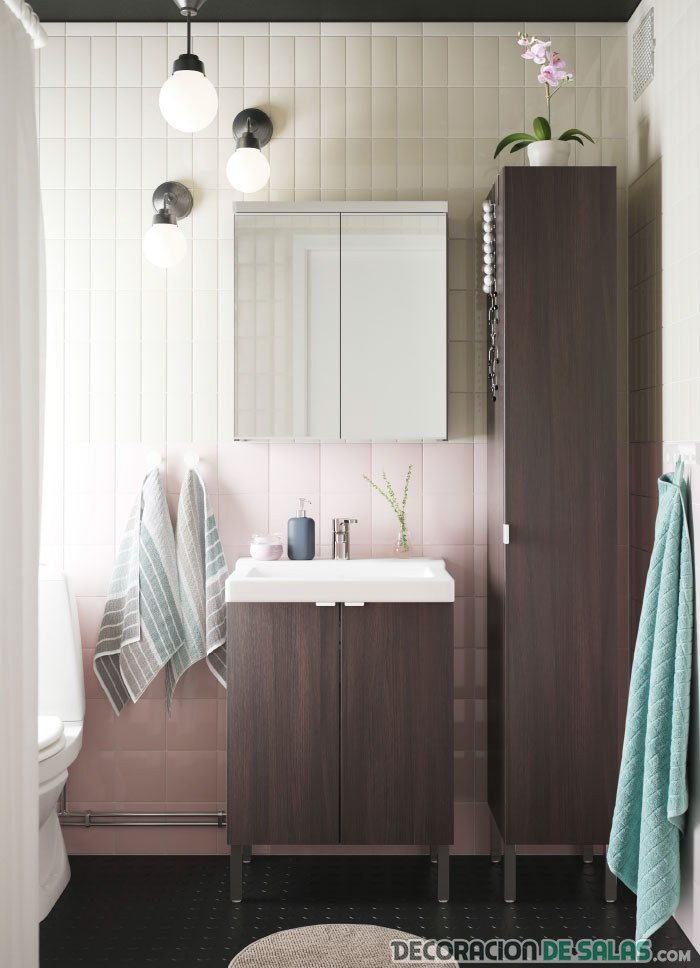 color wengué para baños pequeños