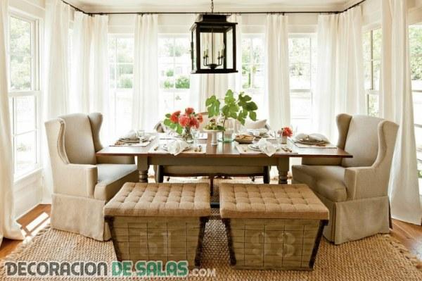4 comedores decorados con estilo campestre