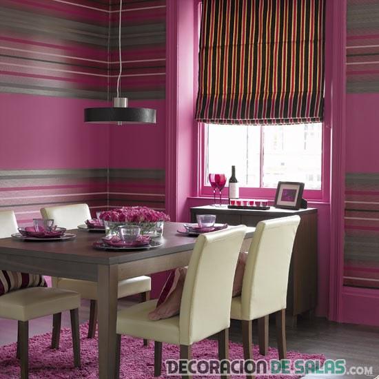 comedor con paredes en rosa