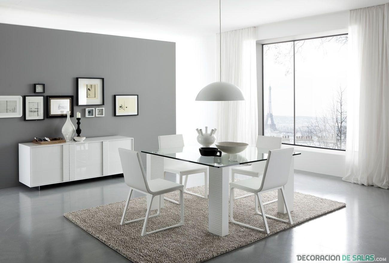 La elegancia del blanco en el comedor for Comedor minimalista