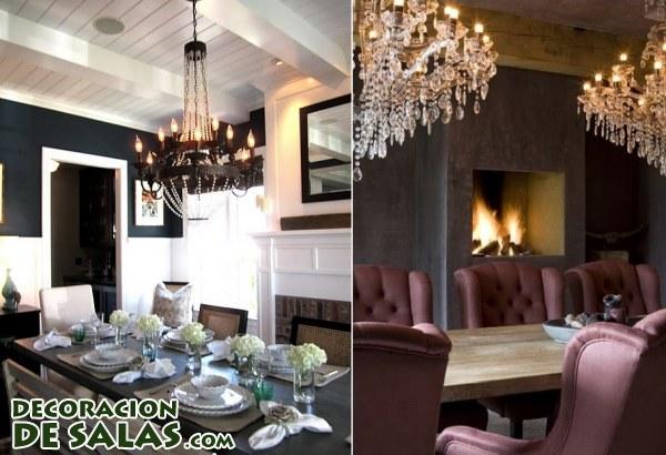 Comedores y salones con encanto - Lamparas para salones ...