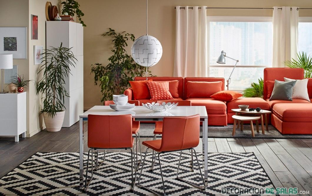 comedor y saln con muebles en naranja