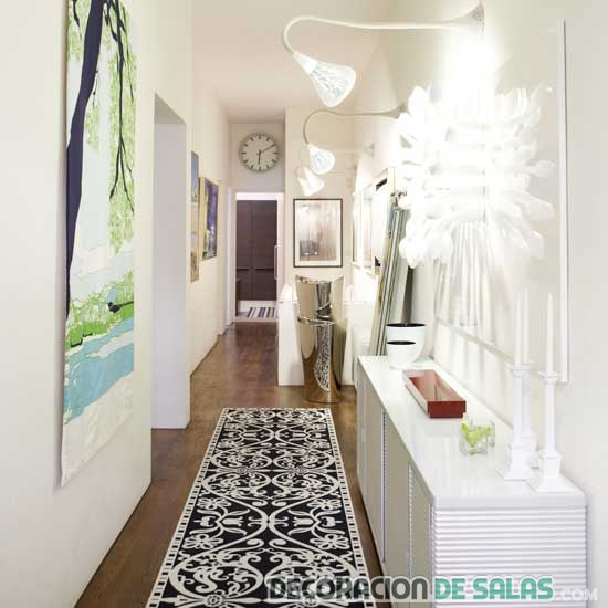 como decorar pasillos con alfombras
