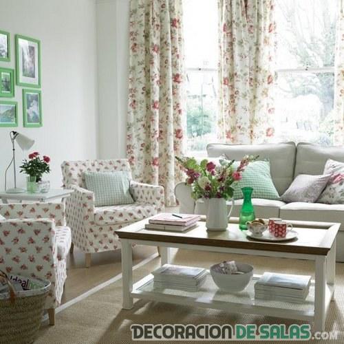 cortinas estampadas en salones