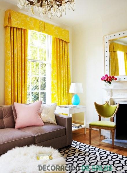 cortinas lisas en color amarillo