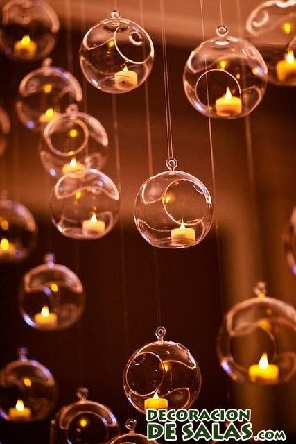 decoracin con velas en cristal