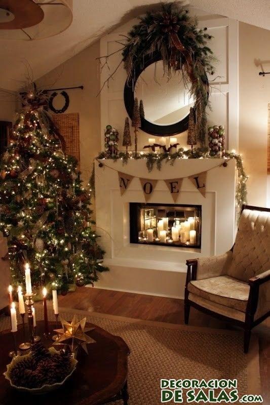 Salones decorados para navidad - Chimeneas decoradas para navidad ...