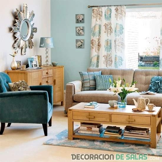 decoración del salón en colores azules