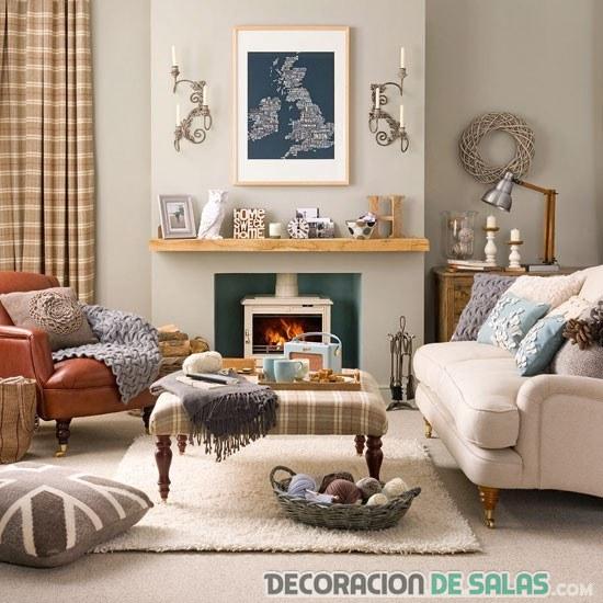decoración del salón en tonos suaves