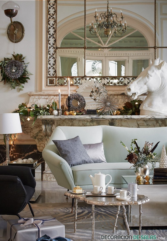 decoración plateada para mesas de navidad