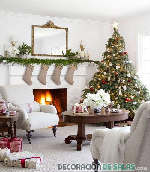 decoración salón de navidad en blanco