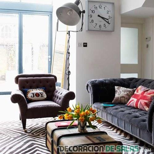 decoracion sofá chester en marron