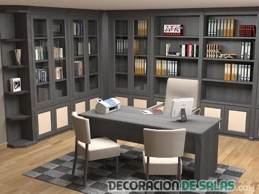 despacho color negro con estanterias
