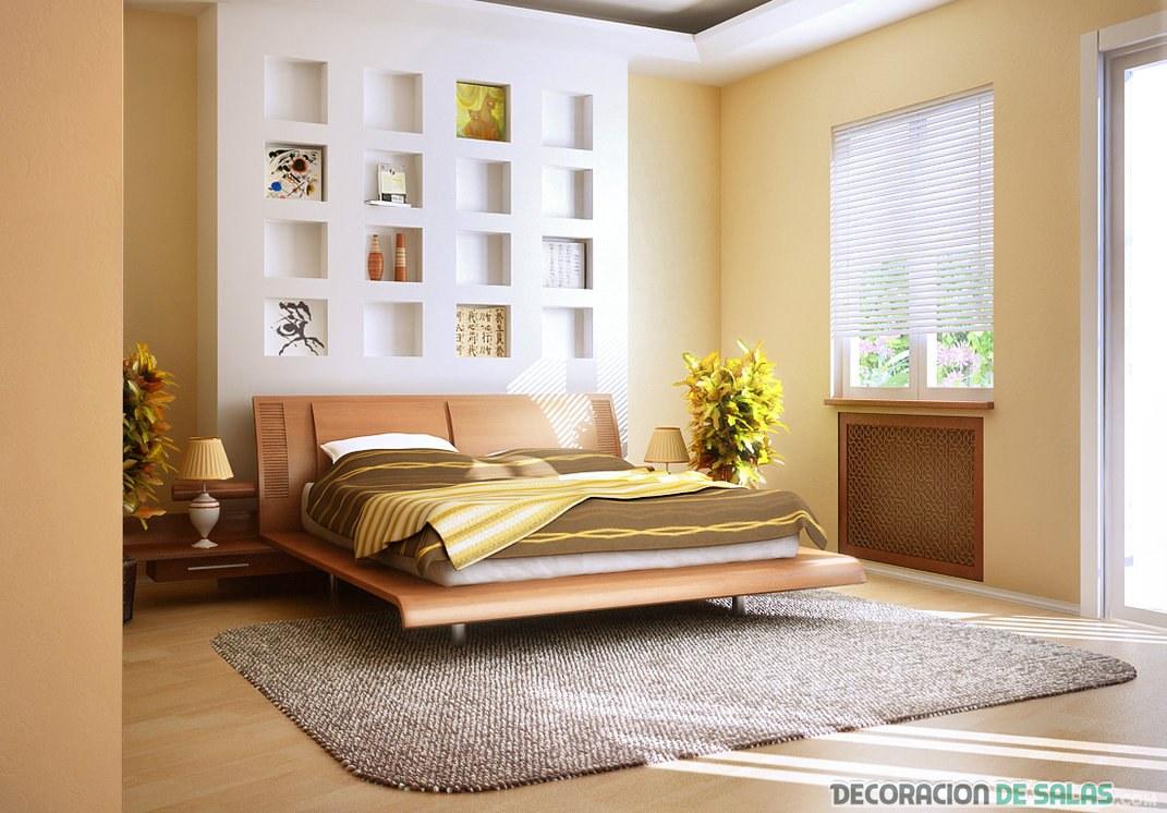 dormitorio amplio en tonos beige