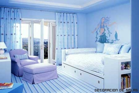 Dormitorio relajante azul claro