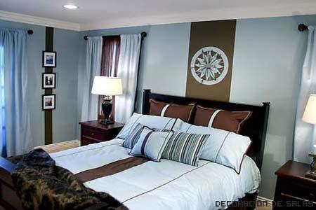 dormitorio azul y marron