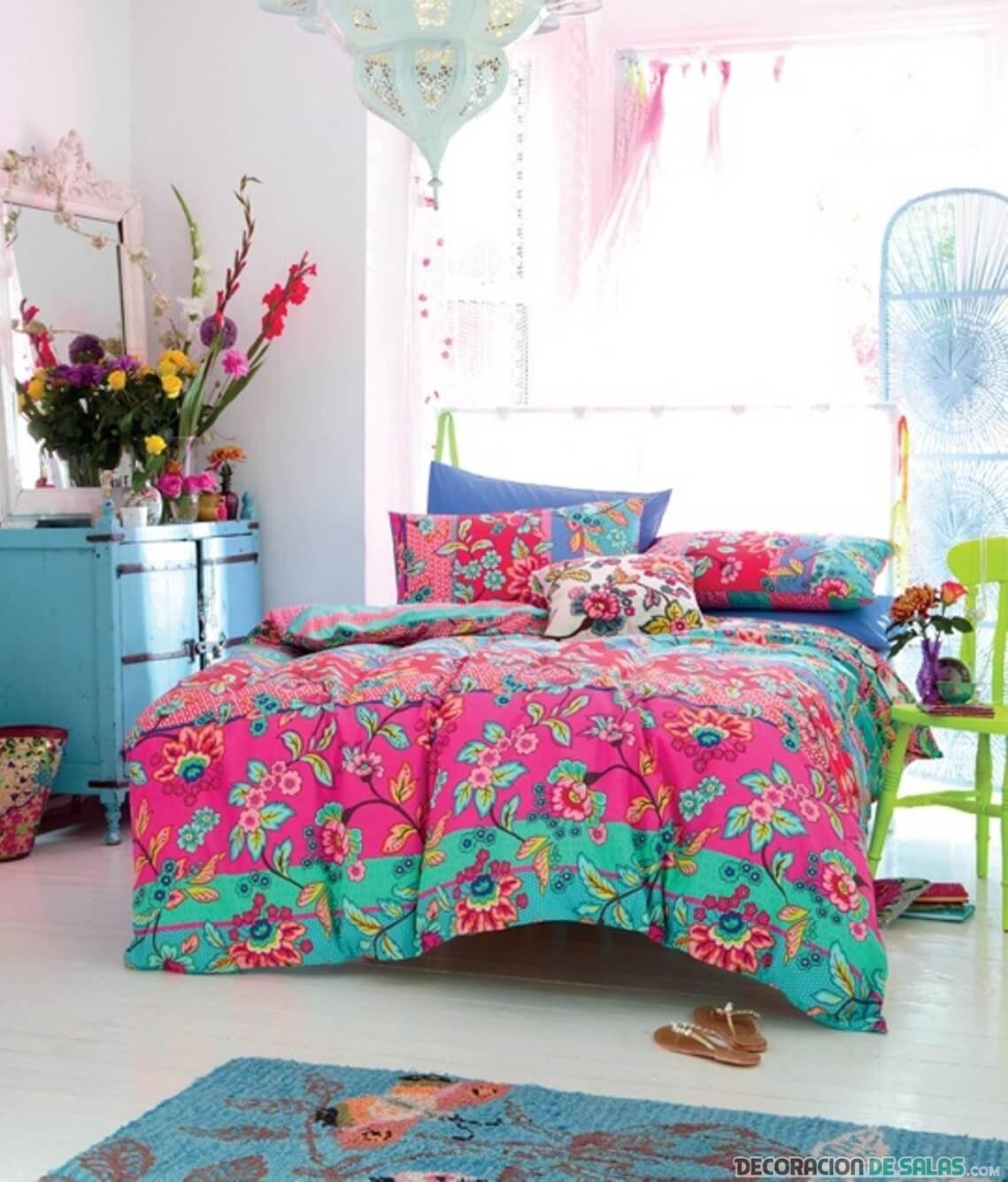 dormitorio bohemio a todo color matrimonio