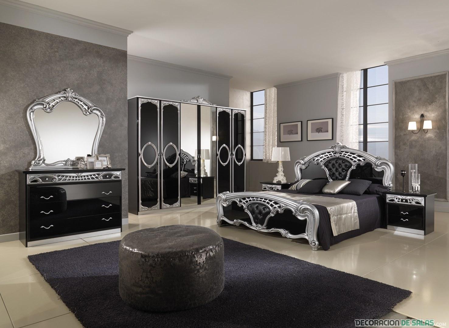 dormitorio clásico en color negro