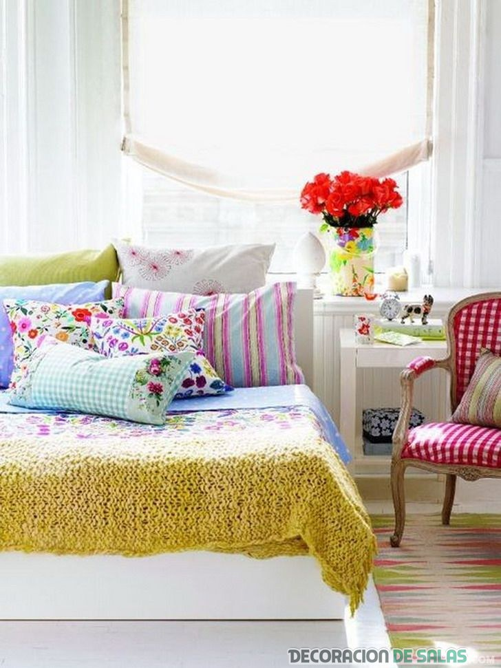 dormitorio con colores flúor