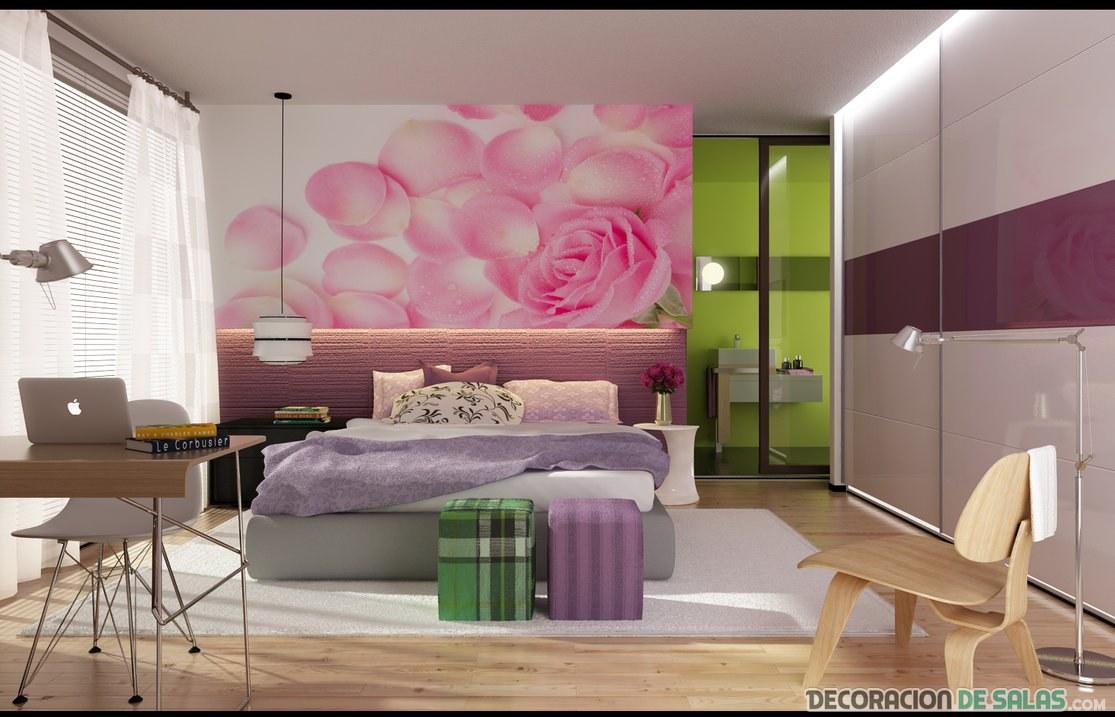 dormitorio con pared y muebles malva