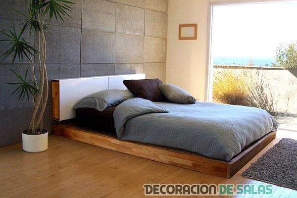 dormitorio de madera minimalista