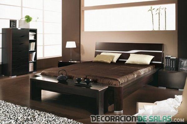 dormitorio decorado en color chocolate