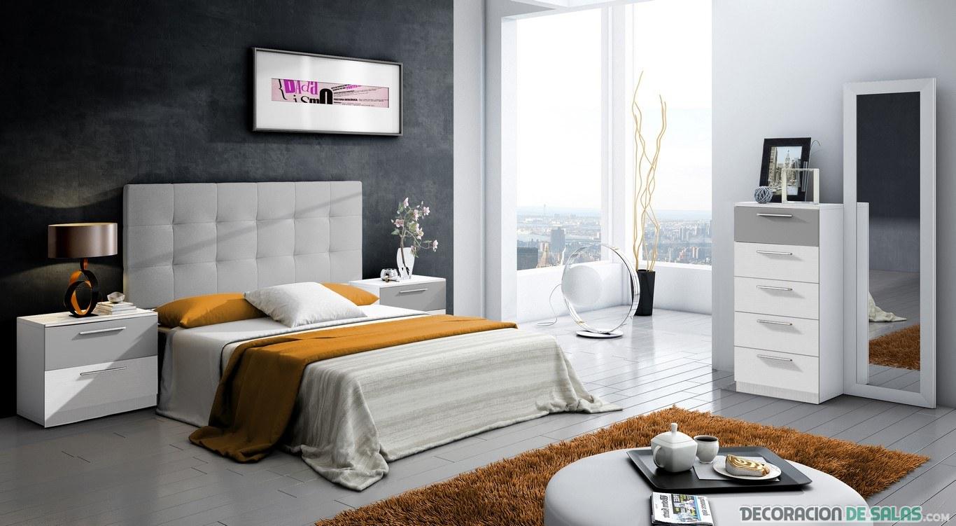 dormitorio elegante con cabecero original