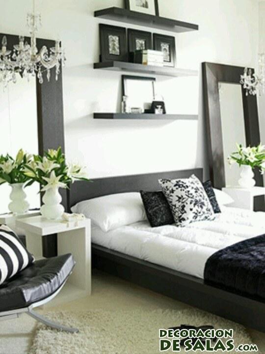 Dormitorios en blanco y negro for Decoracion dormitorio gris y blanco