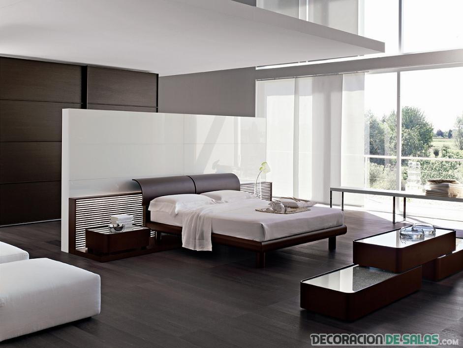 dormitorio elegante en marrón y blanco