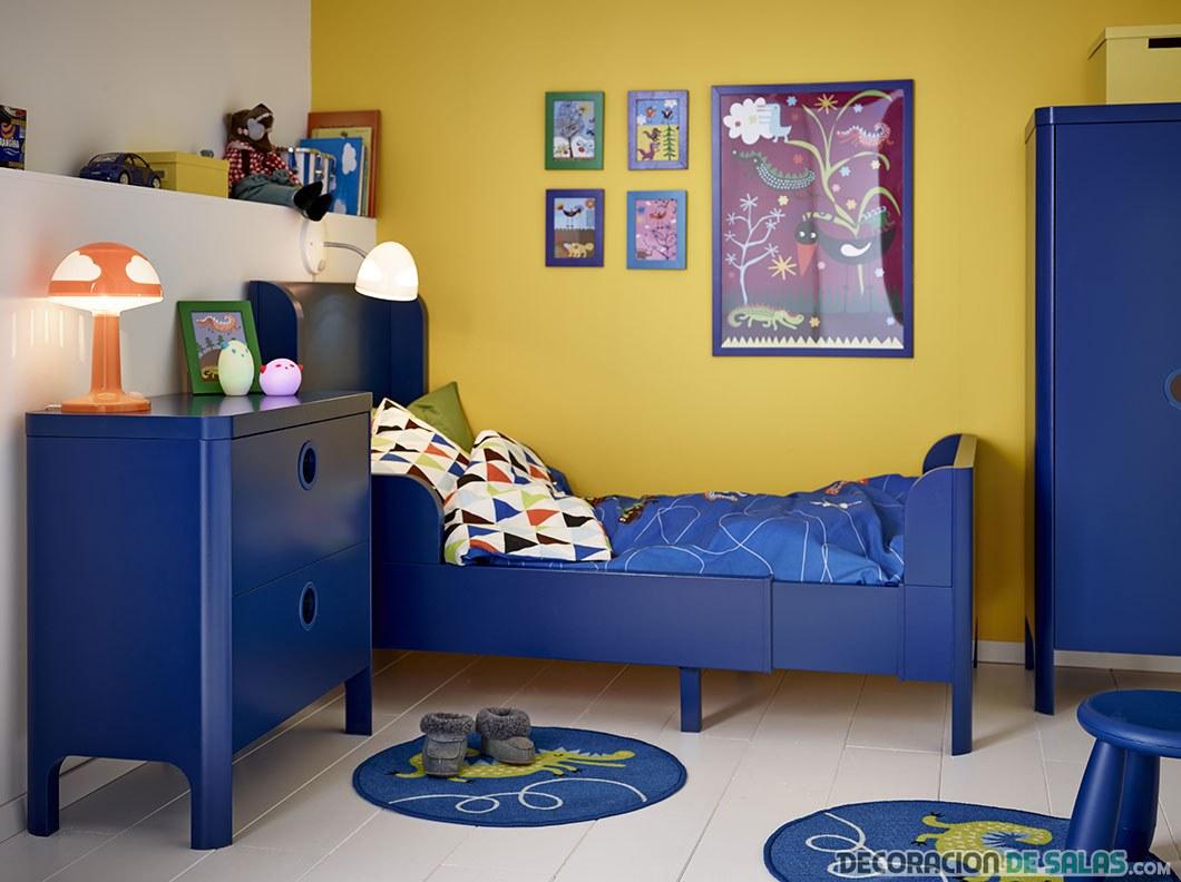 dormitorio en amarillo y azul