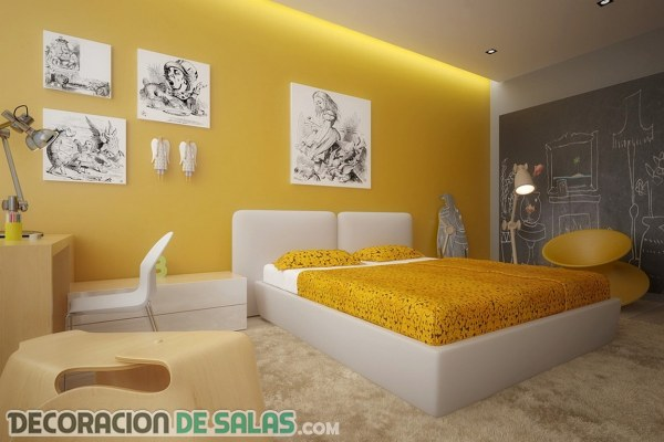 Ideas para un dormitorio en color amarillo