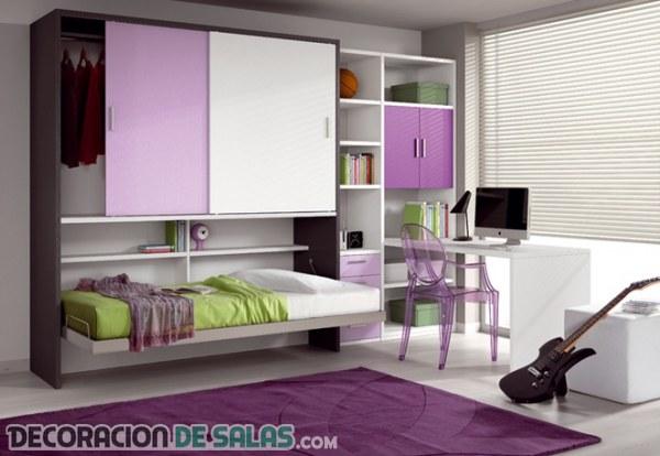 Dormitorios juveniles peque os pero muy modernos for Habitaciones juveniles para poco espacio