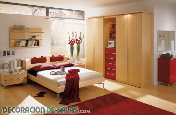Ideas para ir integrando el color rojo en el dormitorio