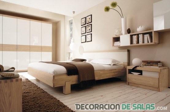 dormitorio en madera y marrón