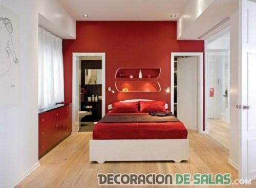dormitorio en rojo y blanco