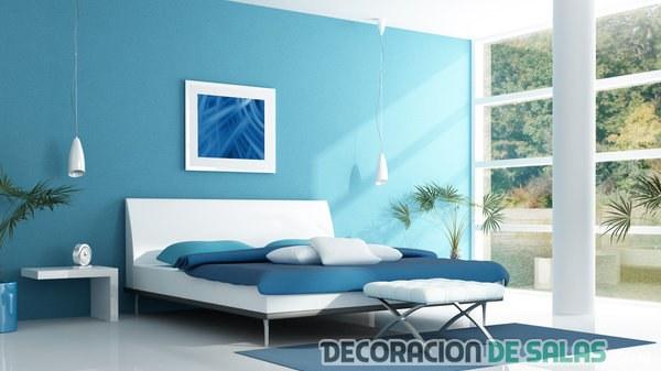 dormitorio en varios azules