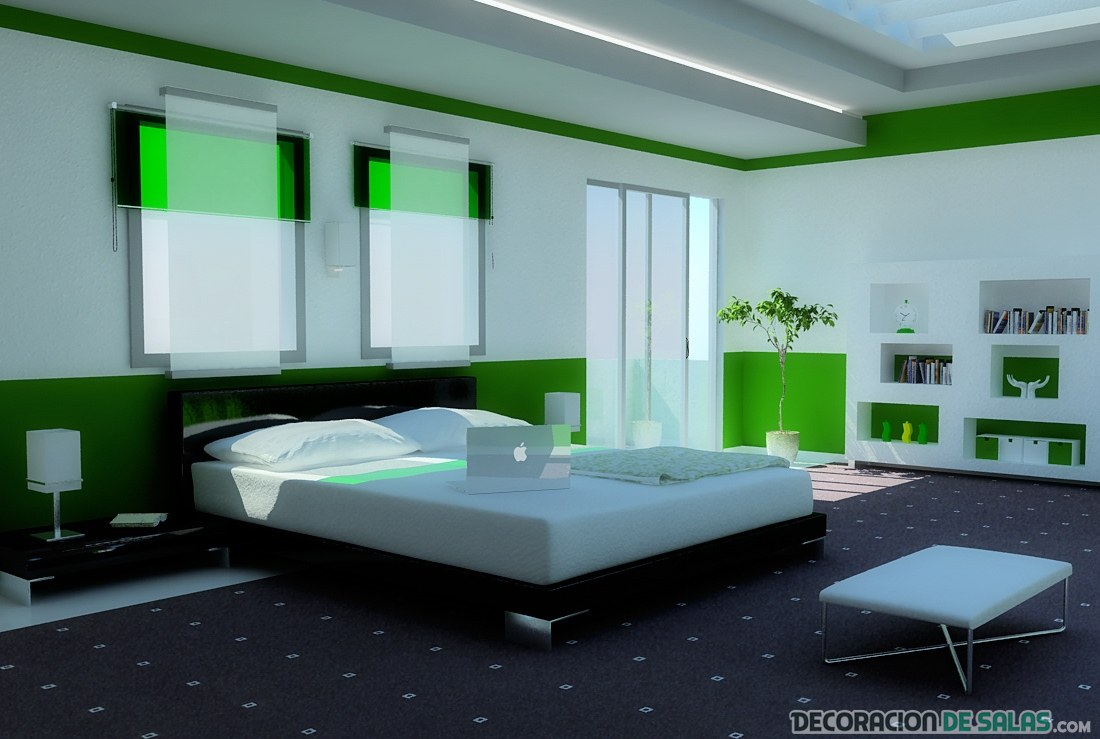 dormitorio en verde fluorescente