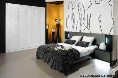 dormitorio gris y mostaza