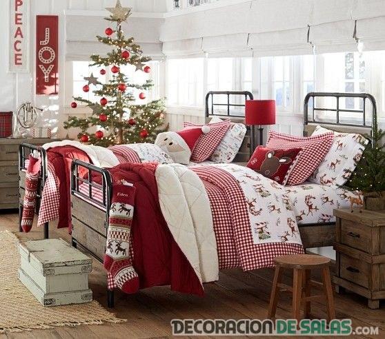 dormitorio juvenil decorado de navidad