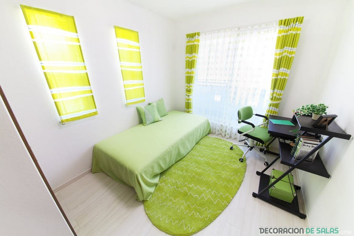 dormitorio juveniles en tonos verdes