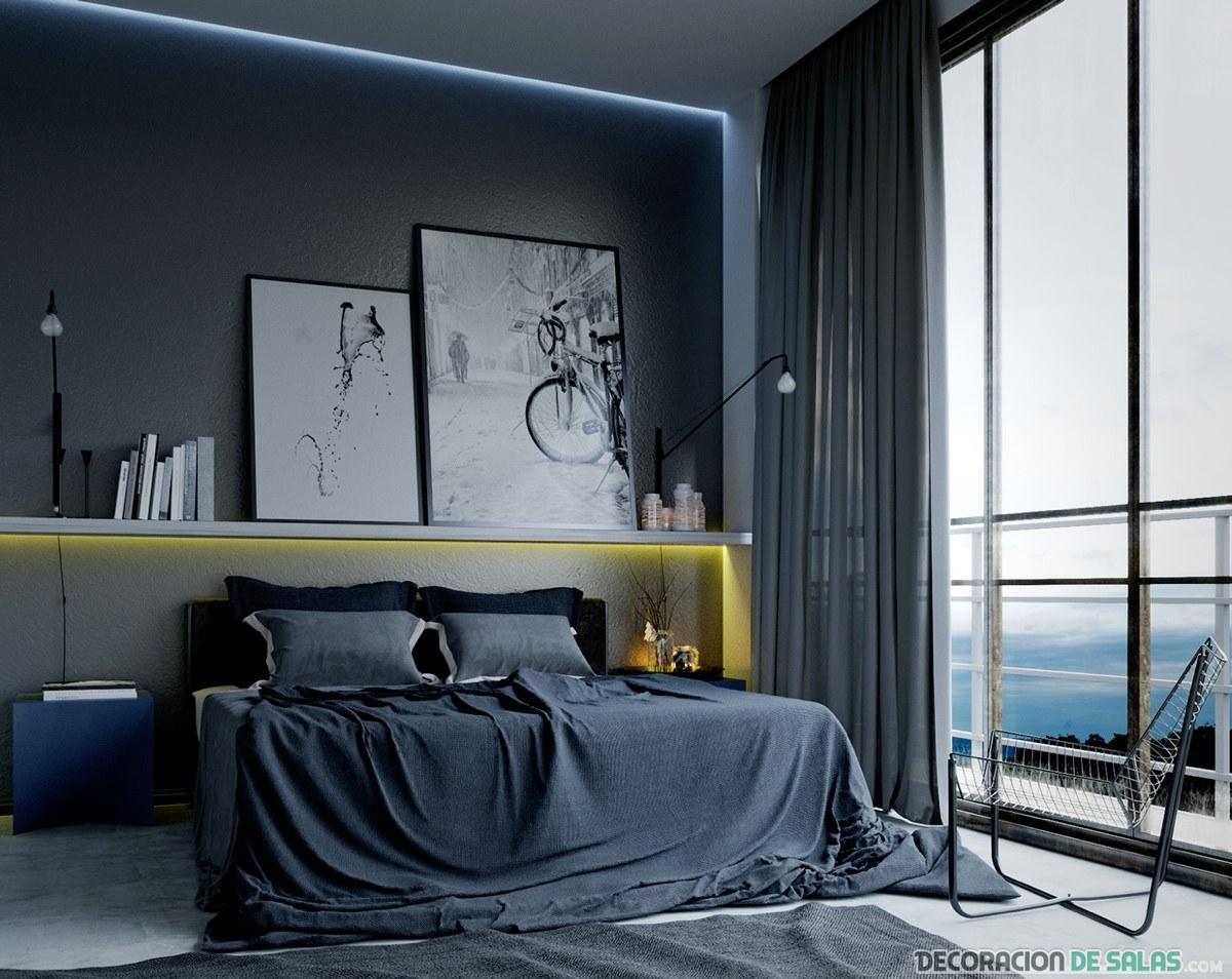 dormitorio masculino en tonos grises
