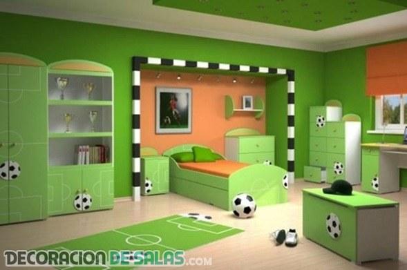 Tres dormitorios para ni os futboleros for Ver dormitorios decorados
