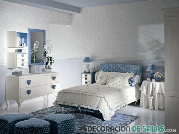 dormitorio para chicas en azul