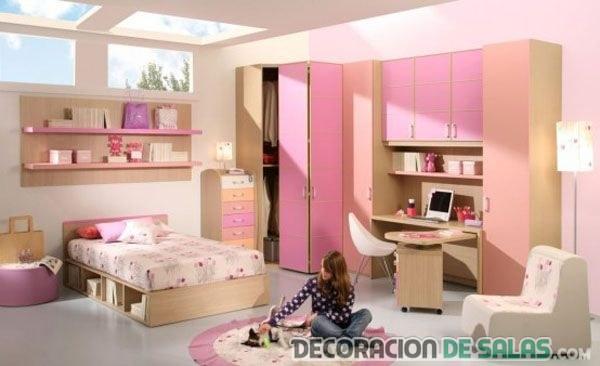 dormitorio para chicas en color rosado