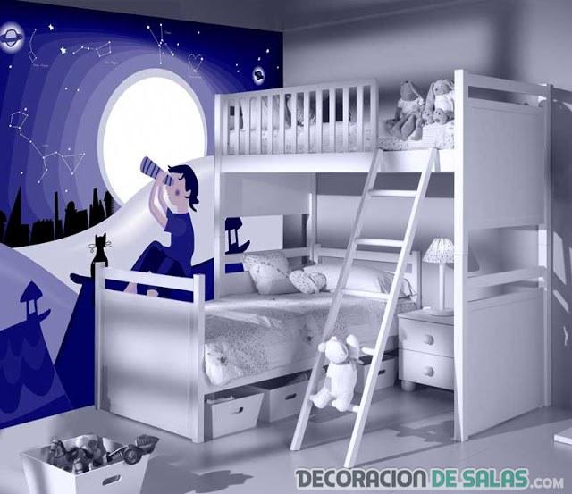 Paredes del dormitorio con grandes dibujos - Paredes para ninos ...