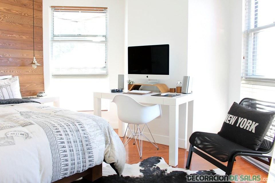 dormitorio pequeño en color blanco