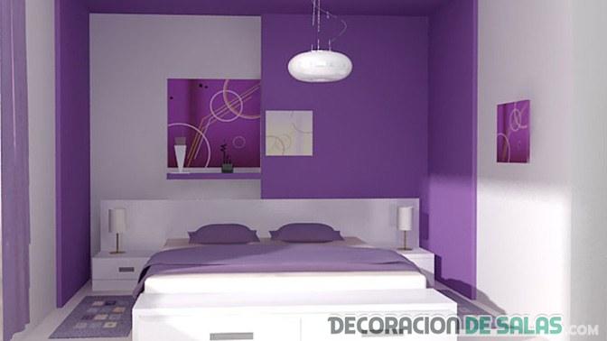 dormitorio pintado en malva