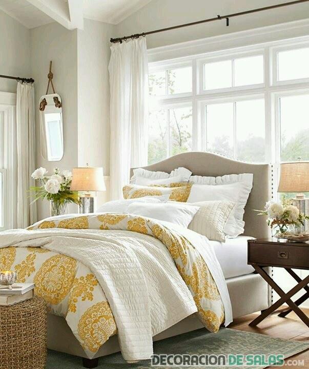 dormitorio relajante en amarillo
