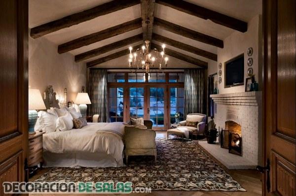 Dormitorios rústicos con pinceladas de color